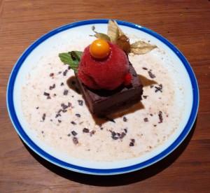 el postre de dos texturas de chocolate de Flax and kale
